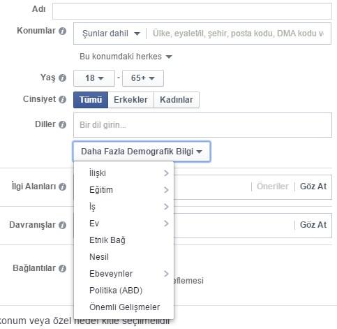 Facebook Hedef Kitle ve Demografik Bilgi